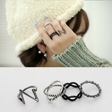 4PCS/Set Vintage Hollow Link Silver Black Above Knuckle Ring Band Midi Ring New