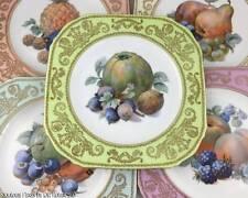 (6) Vintage Luscious FRUITS Dessert Plates  PULS Czech 'Square' Shape