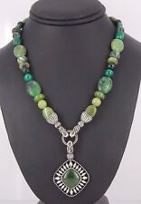 Carolyn Pollack Sterling Silver .925 Jade & Malachite Necklace