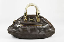 Gianni Versace Couture Brown Quilted Leather GHW Silver Braided Handles Bag