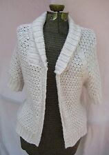 H&M Open Front Cardigan Medium Chunky Short Sleeve Knit Sweater Cream Metallic