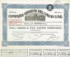 Spain General Cork Company stock certificate 1929