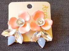 Accessorize Metal Flower Diamante Detail Pierced Earrings 1 PAIR Pink Mix BNWT
