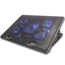 Laptop Notebook Enfriamiento Cooler 5 Fan Led Azul Multi incline pie para adaptarse a 17 Pulgadas