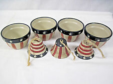 Red/White/Blue & Stars and Stripes 4 Patriotic Dip Bowls & 3 Metal Bells....nt