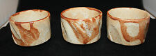 Japanese Studio Art Pottery 3 Small Bowl Cup Set Light Orange Brown 6cm 2 3/8""