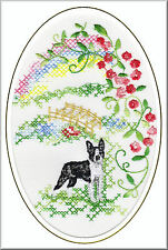 Boston Terrier Rainbow Bridge Card Embroidered by Dogmania