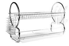 2 Tier Stainless Steel Dish Rack - Space Saver Dish Drainer Drying Rack 22 Inch