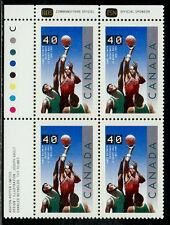 CANADA #1343 40¢ Basketball UL Inscription Block MNH