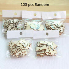 100 Christmas Decor Xmas Wood Chip Tree Ornaments Hanging Pendant Gifts Ornament