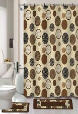 15PC ALANA BROWN ZEBRA CIRCLES BATHROOM BATH MATS SET RUG CARPET SHOWER CURTAIN