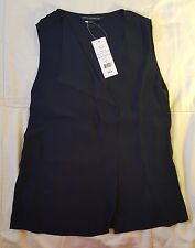 NWT French Connection Hannah Crepe Utility Blue S/Less Top Size $78 Retail