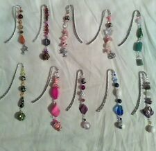 (10) ELEGANT METAL BOOKMARK  NATURAL STONE  AND  CRYSTALS