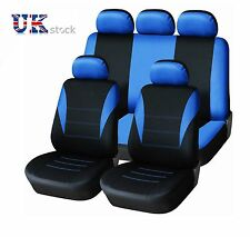UNIVERSAL CAR SEAT COVER SET (9 Pieces) Blue LIGHT Washable & Airbag Compatible