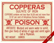 VINTAGE DRUG STORE IRON SULFATE COPPERAS POISON WARNING SIGN REAL CANVAS PRINT