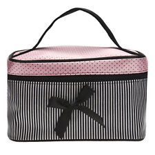 Travel Square Bow Stripe Cosmetic Bag Waterproof Makeup Bag Wash Organizer