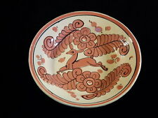 """VINTAGE MEXICAN TLAQUEPAQUE TONALA BOWL DEER TAUPE CREAM HAND PAINTED 8 1/4"""""""