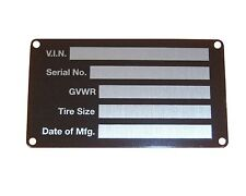 SERIAL NUMBER PLATE data  identification  ID tag ridged aluminum FREE SHIPPING