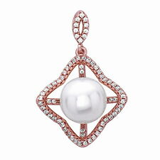 Four Leaf Pearl Pendant Charm with CZ .925 Sterling Silver Rose Gold Plated