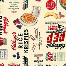 Licensed Kellogg's Kelloggs CEREAL & FRUIT Novelty Breakfast Cereal Fabric
