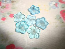 6 Vintage Blue Flower  Buttons / Beads / Embellishments