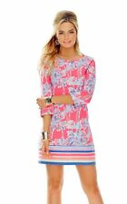 Lilly Pulitzer Women's Linden Flamingo Pin Nice Stems Engineered A-Line Dress M