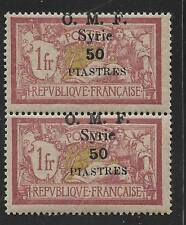 SYRIA 1920 50 pi. ON 1 FRANC HIGH VALUE PAIR W/ DISPLACED OVPT TO TOP S.G. 42 NH