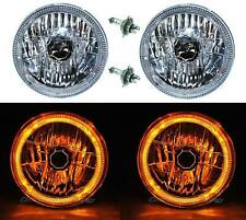 "7"" Halogen LED Amber Halo Angel Eyes Headlight Headlamp H4 Light Bulbs Pair"