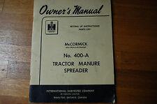 IH INTERNATIONAL 400A Tractor Manure Spreader SET UP Parts Manual book catalog