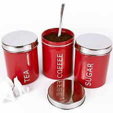 Set Of 3 Red Tea Coffee Sugar Kitchen Storage Canisters Round Jars Accessories