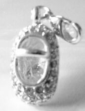 LOVELY SILVER & RHINESTONE BABY SHOE -CLIP-ON CHARM FOR BRACELET - SILVER PLATE