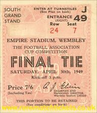 reproduction 1949 WOLVERHAMPTON LEICESTER fa cup final ticket [RMT]