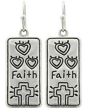 FAITH Earrings Hearts Cross Gold Silver Turquoise Your Choice FREE SHIPPING