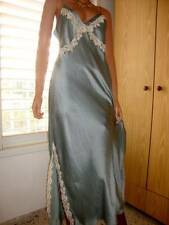 Glamorous Steel Blue 100% Pure Silk & Ivory Lace Full Length Nightgown 14