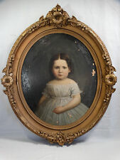 LG 19thC Antique VICTORIAN GIRL Young CHILD Old PORTRAIT PAINTING Flower FRAME