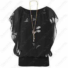 LADIES NEW STYLE CHIFFON BUTTERFLY PRINT BLOUSE BATWING LOOK SLEEVELESS TOP 8-16