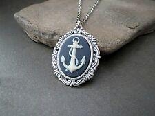 Handmade Nautical Anchor Cameo Necklace
