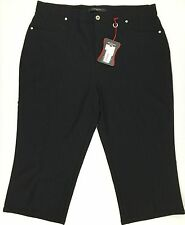Simon Chang Light Weight Stretch Capri Pants Black Size 18 New With Tag