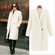 Women Winter Warm Wool Lapel Long Slim Trench Parka Coat Jacket Overcoat Outwear
