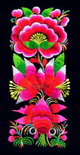 Chinese miao hmong tribal rosy flower goldfish machinemade embroidery