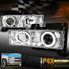 1988-1998 Chevy GMC Silverado Suburban Tahoe Halo Projector LED Headlight Chrome