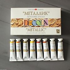 METALLIC Acrylic Art Paint Set Decola 8 in 18ml Tubes Russian Nevskaya Palitra