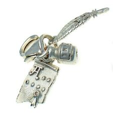 Writer's 3 Part Clip Charm, Ink, Quill and Scroll Sterling 925 British Silver.