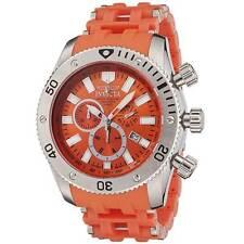 New Mens Invicta 0139 Sea Spider 50mm Swiss Quartz Chrono Orange Rubber Watch