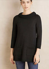 NWT Anthropologie Rib-Trimmed Swing Sweater Tunic Sz XS Black Field Flower