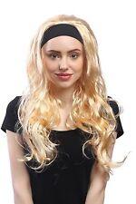 Perruque Femmes Carnaval Lisse Ondulées Bandeau Longue Blond Doré Blonde 80e