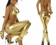 Sexy cadera leggings brillo de cuero metalizado charol Wet look 34/36/38 freesize Gold