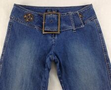 Angels Juniors Sz 7 Pocketless Belted Mid Rise Stretch Flare Jeans 29x31