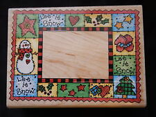 Rubber Stampede Let It Snow Christmas Stamp Border A1940R Snowman Tree Mittons