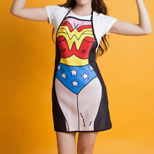 Marvel DC Comic Superwoman Wonder Woman Female Apron Superhero Kitchen Costume